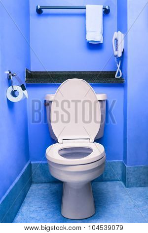 Clean toilet seat bowl restroom blue wc interior washroom hotel