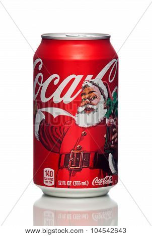 MIAMI, USA - JAN 19, 2015: Photo of a 12 ounce can of Coca-Cola Classic with a Christmas design.