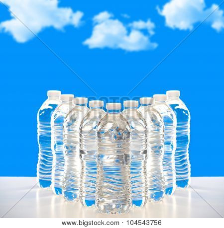 Plastic bottles of water lined up