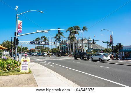 The main street in Carlsbad, California