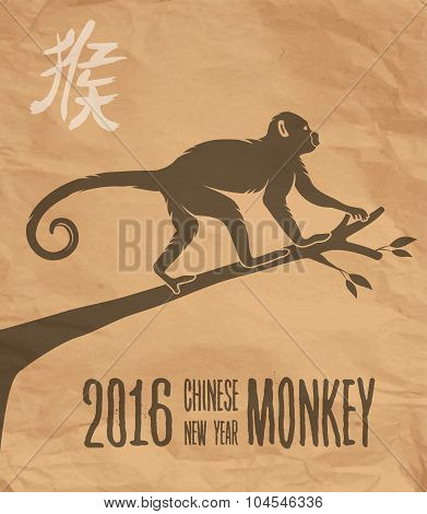 Happy China New Year Monkey 2016 Paper Design Card