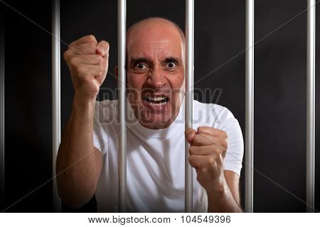 Angry man in prison