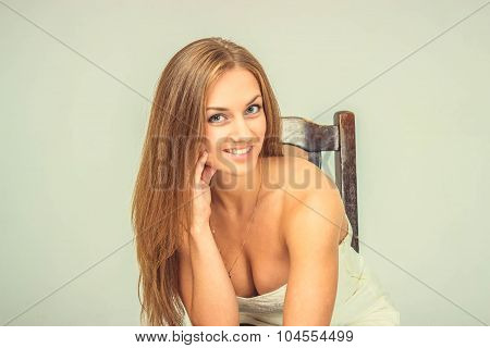 Beautiful Sexy Girl In White Dress Sit On Chair And Smile, Isolated