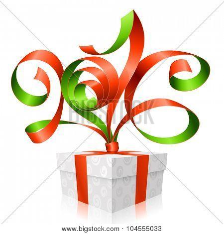 Vector red ribbon and gift box. Symbol of New Year 2016