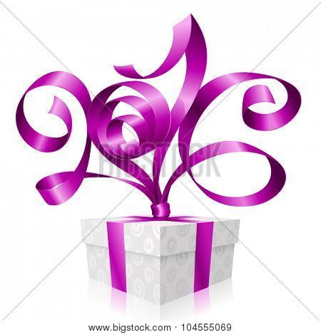Vector purple ribbon and gift box. Symbol of Christmas or New Year 2016