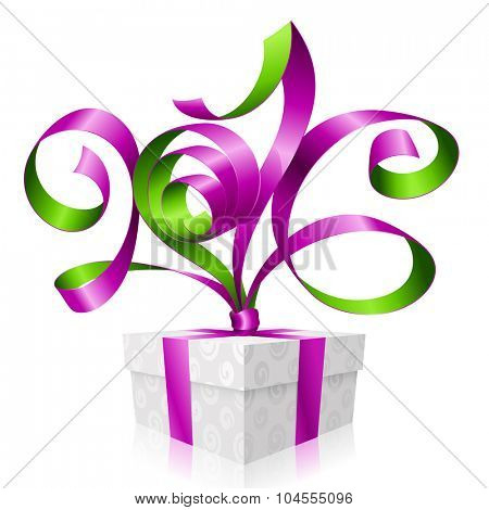 Vector purple ribbon and gift box. Symbol of New Year 2016