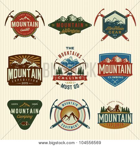 Vector Set Of Mountain Exploration Vintage Badges, Emblems, Silhouettes And Design Elements