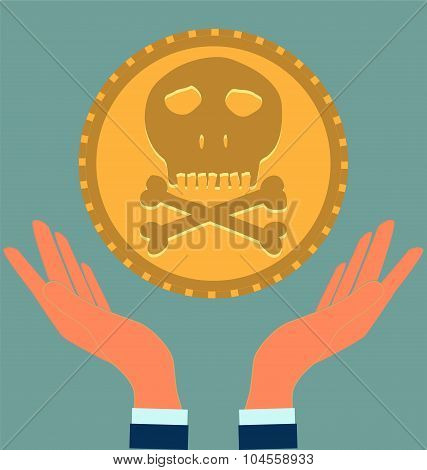Gold coin with a skull and crossbones in hands. Symbol of pirates danger death Halloween. poster