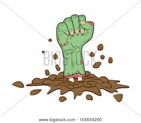 Zombie hand Fist gesture out of ground halloween vector - realistic cartoon isolated illustration. Image of scary monster fist gesture with bones out green skin. Picture isolated on white background. poster