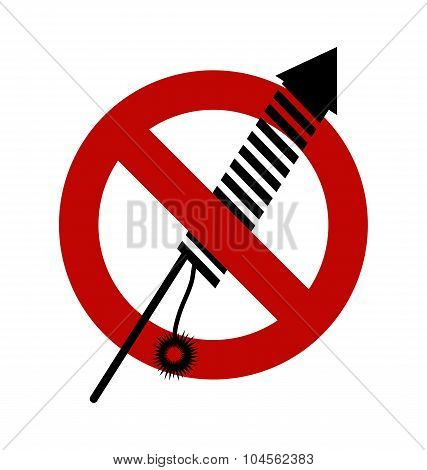 No, Ban Or Stop Signs. Firework Rocket, Petard Icon, Prohibition Forbidden Red Symbols