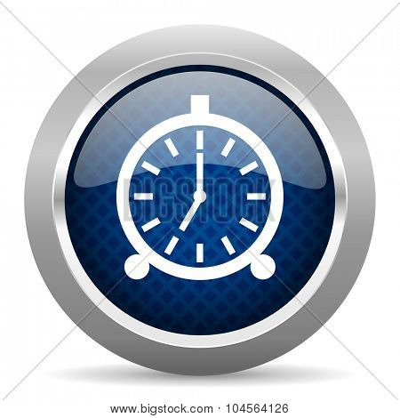 alarm blue circle glossy web icon on white background, round button for internet and mobile app