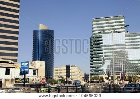 Streets And Modern Building In Tel Aviv,  Israel.