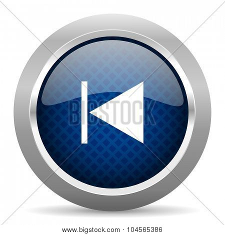 prev blue circle glossy web icon on white background, round button for internet and mobile app