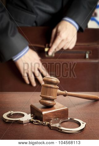 Law concept - lawyer in court