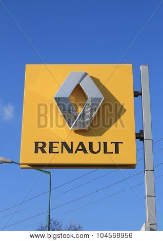 Renault Logo On A Sign Outside The Car Or Automotive Dealership