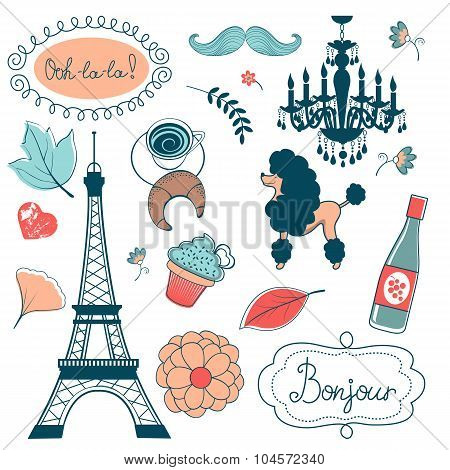 Elegant set with Eiffel tower flowers birds cupcakes and other graphic elements