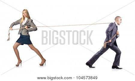 Man and woman in tug of war concept