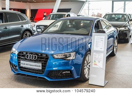 Baden-Baden, Germany - October 10, 2015: New models of the brand Audi in a dealer's showroom in Baden-Baden, Germany. Audi A5 Sportback