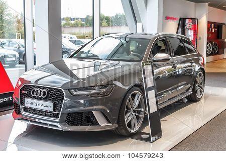 Baden-Baden, Germany - October 10, 2015: New models of the brand Audi in a dealer's showroom in Baden-Baden, Germany. Audi RS 6 Avant