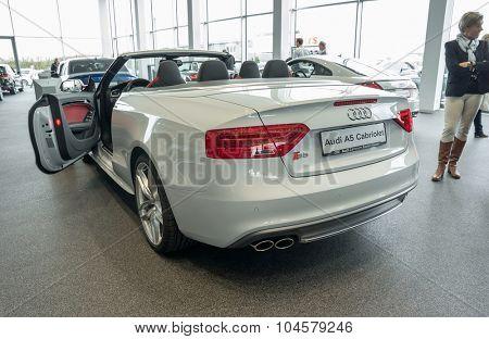 Baden-Baden, Germany - October 10, 2015: New models of the brand Audi in a dealer's showroom in Baden-Baden, Germany. Audi A5 Cabriolet