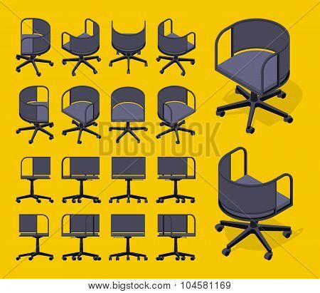 Isometric office spinning chairs