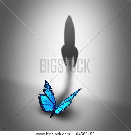 Power aspiration business concept and determined motivation symbol as a blue butterfly casting a shadow shaped as a rocket blasting off as a success potential metaphor. poster