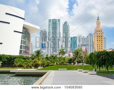 MIAMI,USA - AUGUST 8,2015: Downtown Miami including the Freedom Tower and the American Airlines Arena