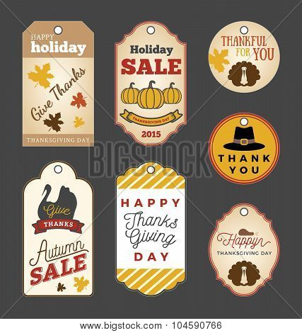 Thanksgiving Gift Tags And Autumn Sale Promotion Tag Labels Design.