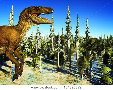 Prehistoric landscape with big T.rex the dinosaur poster