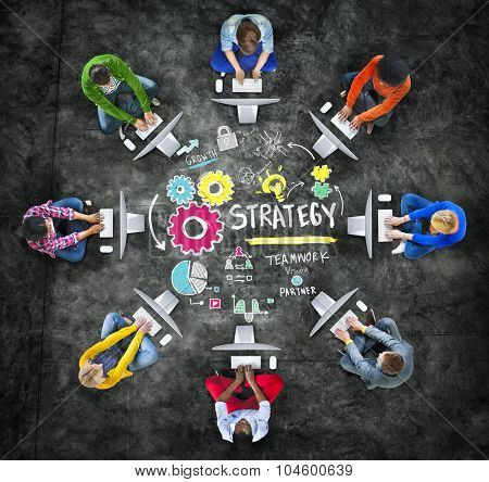Strategy Solution Tactics Teamwork Growth Vision Concept poster