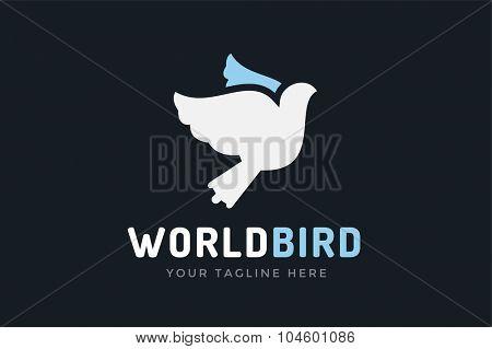 Dove vector logotupe. Dove logo. Dove symbol. Bird dove monogram. Peace world bird. Bird vector logo. Dove silhouette logo, Globe union brand logo, care clinic logo, togetherness concept logo