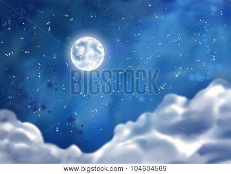 Watercolor Vector Nightly Clouds