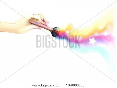 Colorful and Whimsical Illustration of a Hand Using a Makeup Brush - eps10