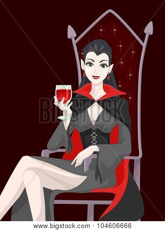 Illustration of a Female Vampire Sipping a Glass of Blood
