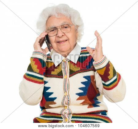 elderly woman talking on the mobile phone isolated on white background