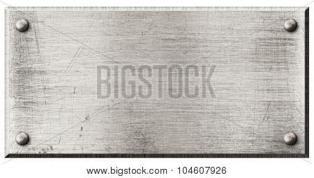 rough steel metal plate with rivets isolated