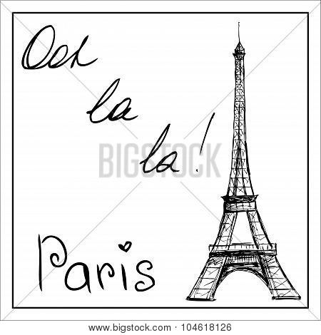 Eiffel Tower. The Word Paris. On A White Background.
