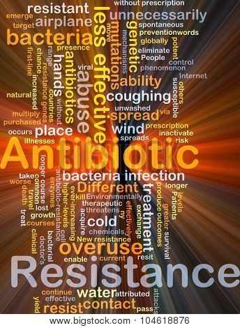Background concept wordcloud illustration of antibiotic resistance glowing light