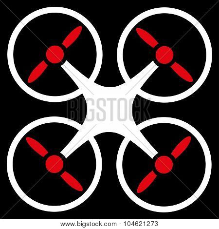 Quadcopter glyph icon. Style is bicolor flat symbol, red and white colors, rounded angles, black background. poster