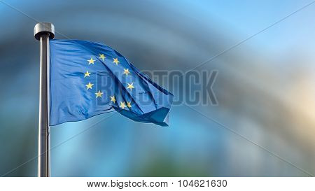 European Union flag in front of the Berlaymont building (European commission) in Brussels, Belgium. poster
