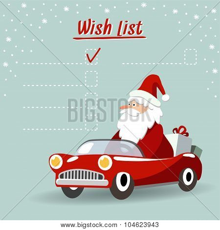 Cute Christmas Greeting Card, Wish List With Santa Claus, Retro Sports Car, Vector