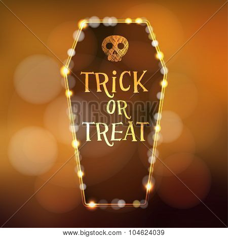 Halloween or Dia de los muertos (Day of the Dead) card invitation with illuminated coffin and scull vector illustration background poster