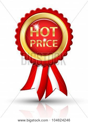 Golden Hot Price Tag With Ribbons