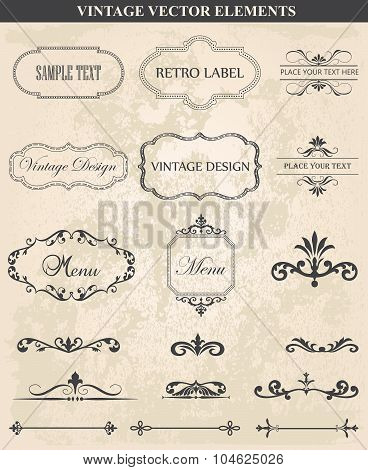 Decorative Vintage Set Of Calligraphic Design Elements