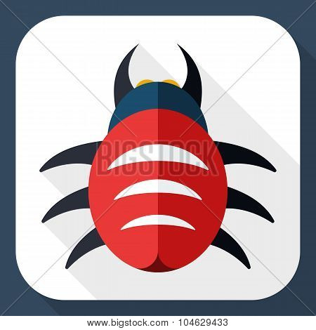 Bug Icon With Long Shadow