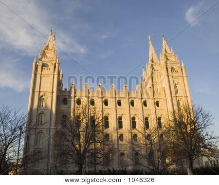 Salt Lake Temple South Side At Dusk