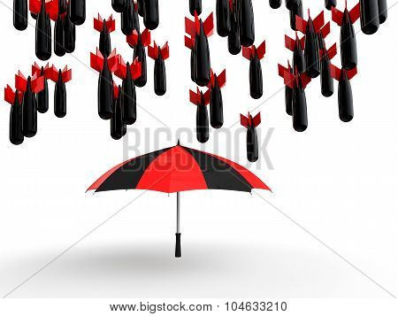 3d umbrella protecting from bombs