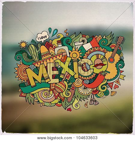 Mexico hand lettering and doodles elements emblem