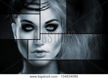 Creative black and white portrait of woman in makeup