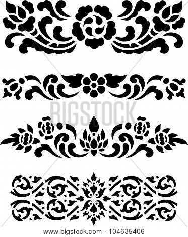 Asian traditional art Design Vector, Thai traditional flower design ( Lai Thai )